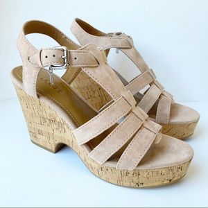 Coach Kennedy Lux Suede Beechwood Sandals 9.5